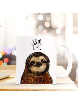 Tasse Becher Faultier mit Spruch Sprichwort Zitat sloth life ts409