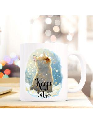 Tasse Becher Katze Katzentasse mit Schneeflocken und Spruch Keep calm... and believe in magic ts406