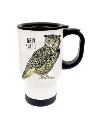 Tasse Becher Thermotasse Thermobecher Thermostasse Thermosbecher Eule Eulchen Kauz mit Spruch mein Kaffee cup mug thermo mug thermo cup owl codger with saying my coffee tb017