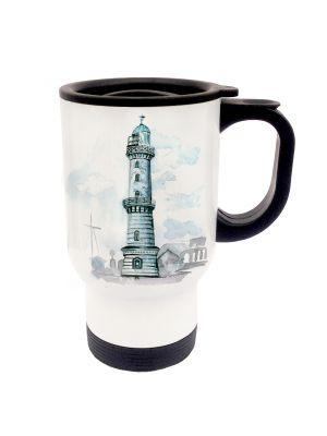 Tasse Becher Thermotasse Thermobecher Thermostasse Thermosbecher maritimer Leuchtturm an der Küste cup mug thermo mug thermo cup maritime light house at the coast tb018