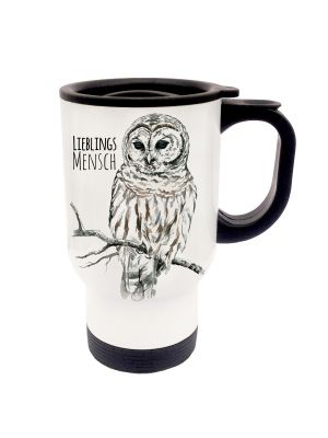 Tasse Becher Thermotasse Thermobecher Thermostasse Thermosbecher Eule Schneeeule Kauz mit Spruch Lieblingsmensch und Wunschnamen cup mug thermo mug thermo cup owl snow owl codger with saying favourite person and desired name tb023