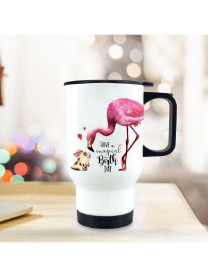 Thermobecher Flamingo Isolierbecher Geburtstag mit Spruch