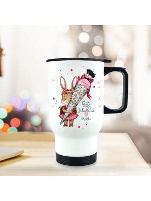Thermobecher Hase mit Zuckertüte Isolierbecher Einschlung und Spruch