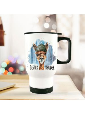 Thermobecher Isolierbecher bedruckt mit Lama im Winter Motiv & Spruch Bester Bruder Thermo Trinkbecher tb184