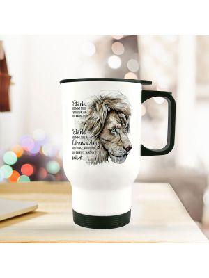 Thermobecher Isolierbecher Löwe Stärke kommt von Überwindung Geschenk tb236