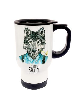 Tasse Becher Thermotasse Thermobecher Thermostasse Thermosbecher Wolf Wolfshund mit Spruch Lieblingsbruder cup mug thermo mug thermo cup wolf wolfhound with saying favourite brother tb26