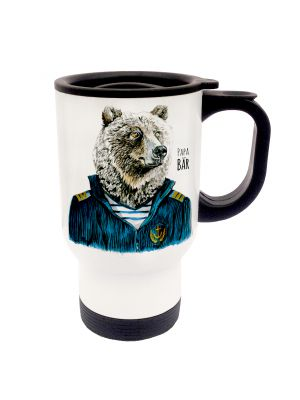 Tasse Becher Thermotasse Thermobecher Thermostasse Thermosbecher Papa Bär Matrose Kaptain Seebär cup mug thermo mug thermo cup dad bear father bear sailor captain fur seal tb033