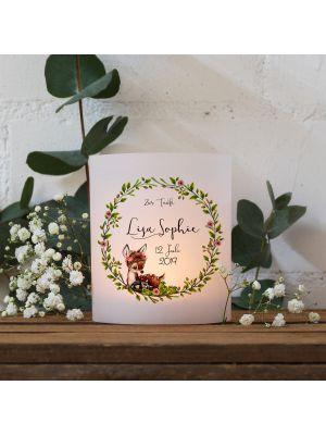 Teelichthüllen Taufe 2er 4er Set Lichthülle Blätterkranz Reh Name Datum te124