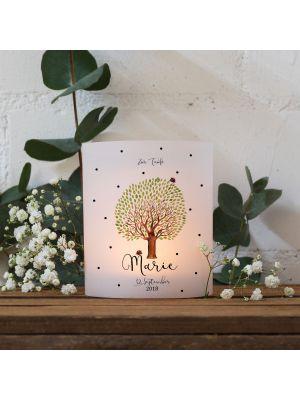 Teelichthüllen Taufe 2er 4er Set Lichthülle Baum mit Marienkäfer Name Datum te125