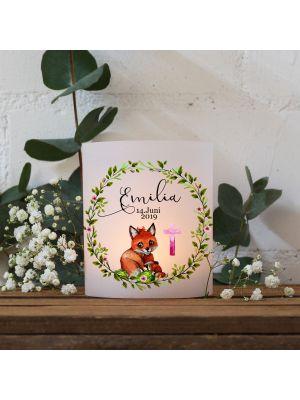Teelichthüllen 2er 4er Set Lichthülle Fuchs Junges Blätterkranz pinkes Kreuz Name te128