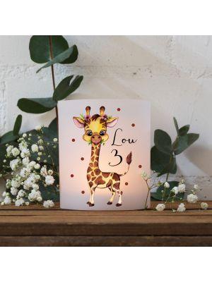Teelichthüllen 2er 4er Set Lichthülle Giraffe + Wunschname Alter te133