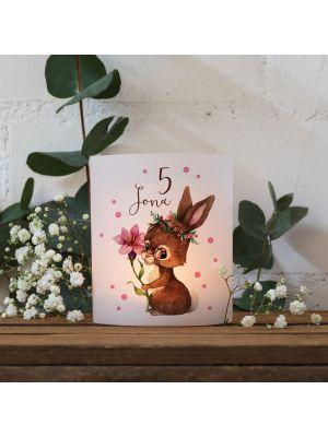 Teelichthüllen 2er 4er Set Lichthülle Hase Blume + Wunschname Alter te134