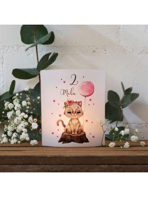Teelichthüllen 2er 4er Set Lichthülle Katze Ballon + Wunschname Alter te135