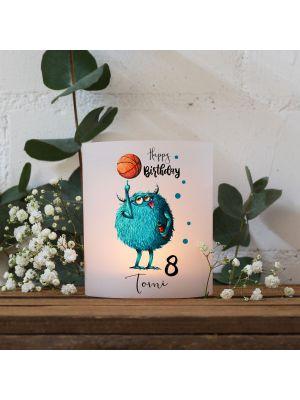 Teelichthüllen 2er 4er Set Lichthülle Monster Basketball + Wunschname Alter te136