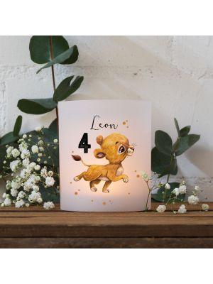 Teelichthüllen 2er 4er Set Lichthülle Löwe Löwenbaby + Wunschname Alter te138