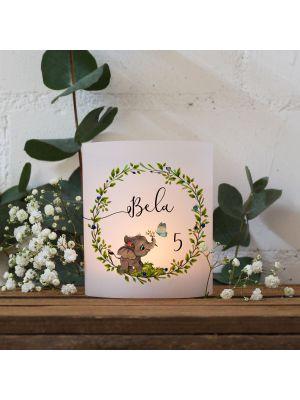 Teelichthüllen 2er 4er Set Lichthülle Elefant Blätterkranz + Wunschname Alter te139