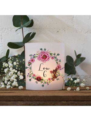 Teelichthüllen 2er 4er Set Lichthülle Hase Blumenkranz + Wunschname Alter te14