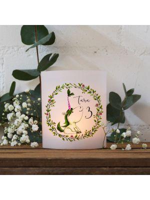 Teelichthüllen 2er 4er Set Lichthülle Blumenkranz Einhorn + Name Alter te142