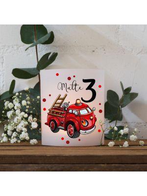 Teelichthüllen 2er 4er Set Lichthülle Feuerwehr Auto Name Alter te145