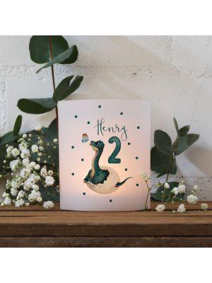 Teelichthüllen 2er 4er Set Lichthülle Dino im Ei + Wunschname Alter te158