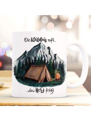 Tasse Becher Zelt campen Wald Berge Die Wildnis ruft das Herz folgt Geschenk ts1003