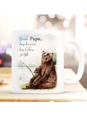 Tasse Becher Bär Bärenpapa Papa Junges angeln Danke Papa Geschenk ts1009