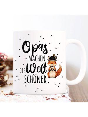 Tasse Becher Opas machen die Welt schöner & Fuchs Herz Hut Kaffeebecher ts1066