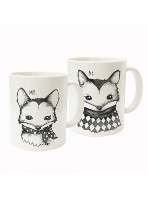 Tasse Becher Kaffeetasse Kaffeebecher Kindertasse Kinderbecher Tassen Füchse Mr. und Mrs. Fuchs 2-teiliges Tassenset cup mug kids cup kids mug coffee cup coffee mug foxes mr. and mrs. fox 2-piece cup set ts154