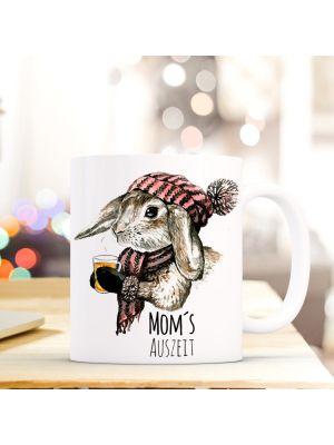 Tasse Becher Kaffeetasse Kaninchen Hase mit Schal Mütze Tee und Spruch