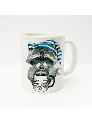 Tasse Waschbär mit Kaffeetasse und Schlafmütze ts213