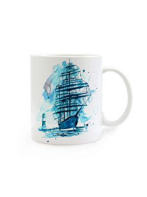 Tasse Becher maritim Kaffeebecher Kaffeetasse Segler Leuchtturm Meer Teetasse Schiff ts256