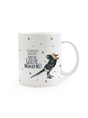 Tasse Kaffeebecher Kaffeetasse Elster mit Hut und Spruch