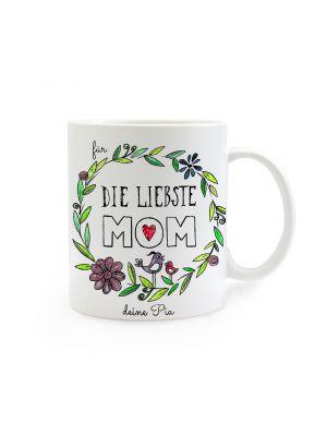 Tasse Muttertag mit Blumen und Spruch für die liebste Mom mit Wunschnamen cup mother's day with flowers and saying for the dearest mom with custom name ts264