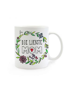 Tasse Muttertag mit Blumen und Spruch Für die liebste Mom cup mother's day with flowers and saying for the dearest mom ts265