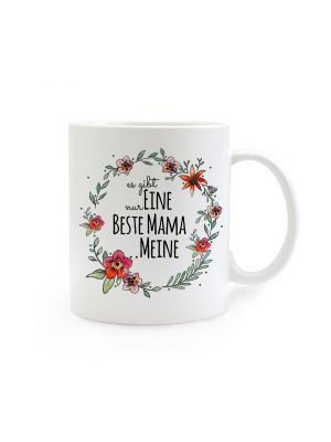 Tasse Muttertag mit Blumen und Spruch Es gibt nur eine beste Mama...meine cup mother's day with flowers and saying there is only one best mom ... mine ts270