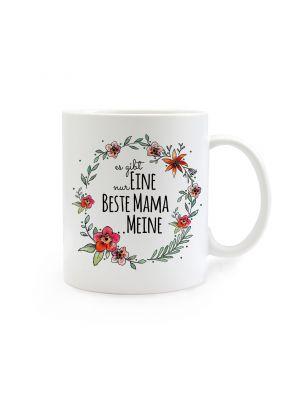 Tasse Muttertag mit Blumen und Spruch Es gibt nur eine beste Mama...meine cup mother's day with flowers and saying there is only one best mom ... mine ts270