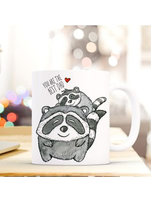 Tasse Waschbären mit Herz und Spruch you are the best dad cup racoons with heart and saying you are the best dad ts274