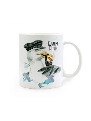 Tasse Kapitän Möwe mit Spruch Küstenkind cup captain seagull with saying coast child ts276