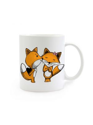 Tasse Füchse mit Herz und Schleife bunt cup foxes colorful with heart and ribbons ts293