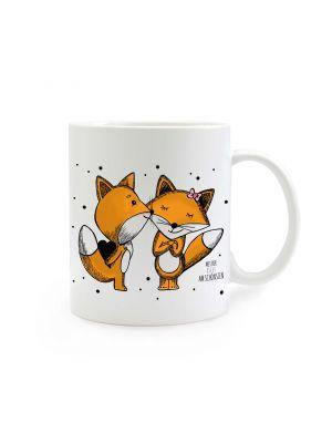 Tasse bunte Füchse mit Punkten und Spruch mit dir ist es am schönsten cup colorful foxes with dots and saying with you it is most beautiful ts294