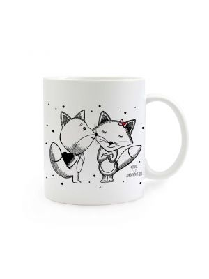 Tasse Füchse schwarz-weiss mit Punkten und Spruch mit dir ist es am schönsten cup foxes black-and-white with dots and saying with you it is most beautiful ts295