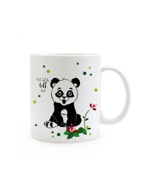 Tasse Pandabär mit Blumen Punkte und Spruch weil du toll bist ts312