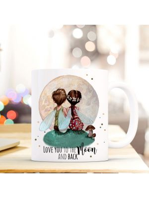Tasse Becher Kaffeetasse Kaffeebecher Kindertasse Kinderbecher Feen Elfen Feenpaar Elfenpaar Elfenpärchen Feenpärchen mit Spruch Zitat love you to the moon and back cup mug children cup children mug coffee cup coffee mug elves fairies fairy couple with qu