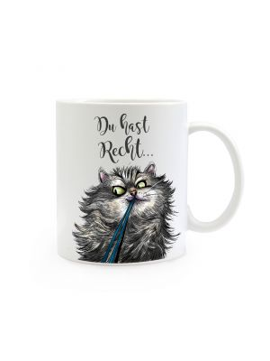 Tasse Becher Kaffeetasse Kaffeebecher Kindertasse Kinderbecher Katze Kater mit Spruch Zitat Du hast Recht.. cup mug children cup children mug coffee cup coffee mug cat with saying quote you're right… ts385