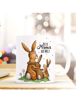 Tasse Becher Kaffeetasse Kaffeebecher zum Muttertag mit Hasen Punkten und Spruch Beste Mama der Welt Cup mug coffee cup coffee mug for mother's day with rabbits dots and quote saying best mum in the world ts432_H.jpg