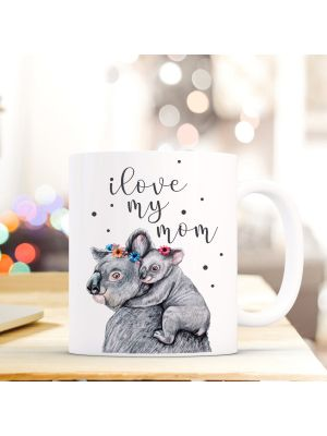 Tasse Teetasse Koala Kaffeebecher Kaffeetasse mit Punkten und Spruch
