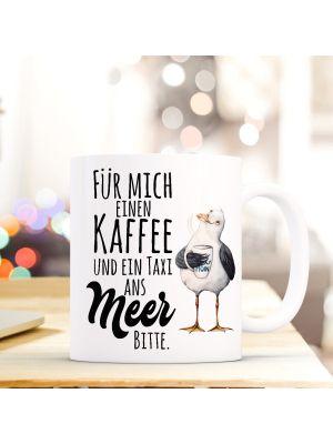 Tasse Möwe Kaffeebecher maritim Kaffeetasse mit Spruch