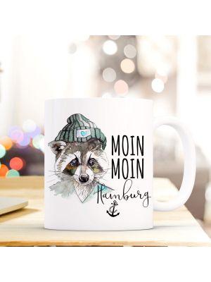 Tasse Waschbär Kaffeebecher Kaffeetasse mit Spruch