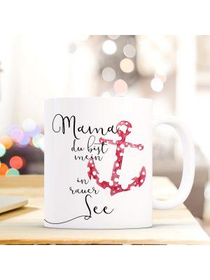 Tasse Kaffeebecher maritim Anker Rot Kaffeetasse mit Spruch
