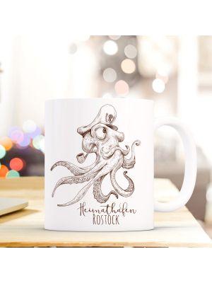 Tasse Teetasse Krake mit Mütze Kaffeebecher Kaffeetasse mit Spruch